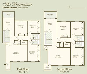 The Brannigan FloorPlan at Governor Square Apartments, Indiana
