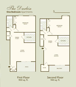 The Durbin FloorPlan at Governor Square Apartments, Carmel, 46032