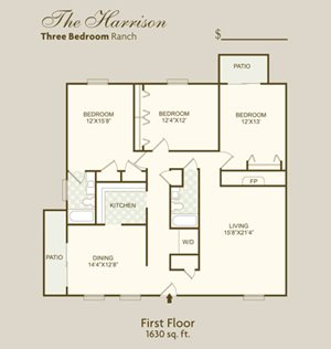 The Harrison FloorPlan at Governor Square Apartments, Indiana, 46032