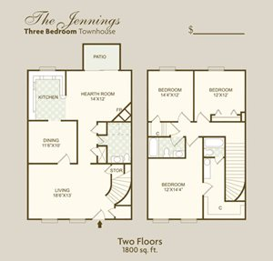 The Jennings FloorPlan at Governor Square Apartments, Carmel, IN, 46032