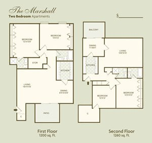 The Marshall FloorPlan at Governor Square Apartments, Carmel, Indiana