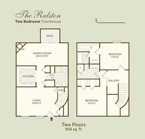 The Ralston FloorPlan at Governor Square Apartments, Carmel