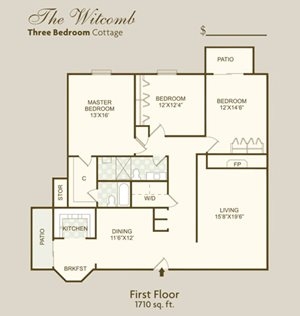 The Witcomb FloorPlan at Governor Square Apartments, Carmel, IN