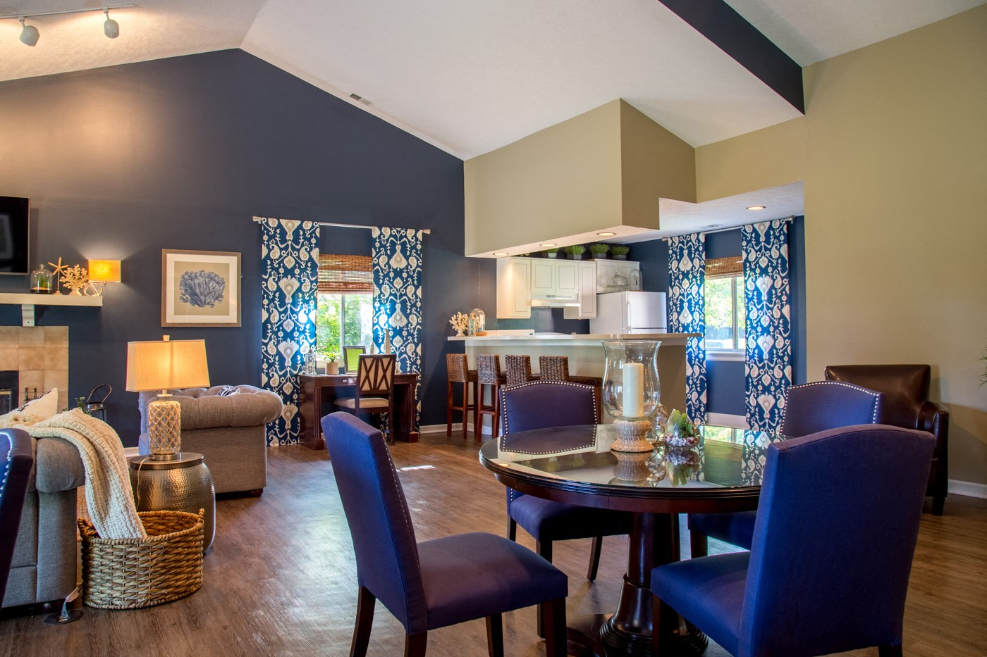 Clubhouse amenity with blue chairs