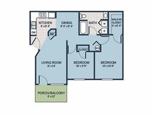 two bedroom floor plan apartment