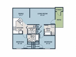 two bedroom floor plan apartment with patio