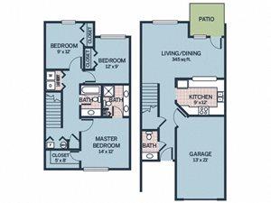 three bedroom floor plan apartment with patio