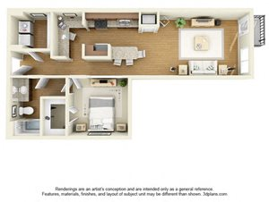 One Bedroom A1 FloorPlan at The Cole, Columbus, Indiana
