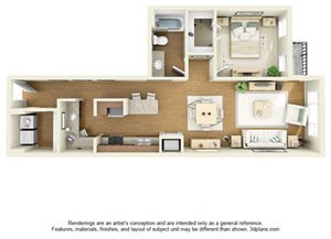 One Bedroom A2 FloorPlan at The Cole, Columbus