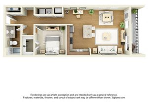 One Bedroom A3 FloorPlan at The Cole, Indiana