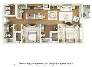 Two Bedroom B1 FloorPlan at The Cole, Indiana, 47201