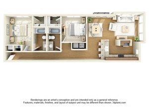 Two Bedroom B3 FloorPlan at The Cole, Columbus, IN, 47201