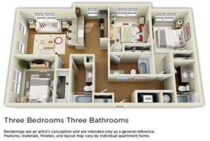 Three Bedroom Apartments - The Langston Student Furnished Apartments in Cleveland, OH near CSU