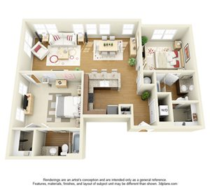Two Bedroom Apartments - The Langston Student Furnished Apartments in Cleveland, OH near CSU