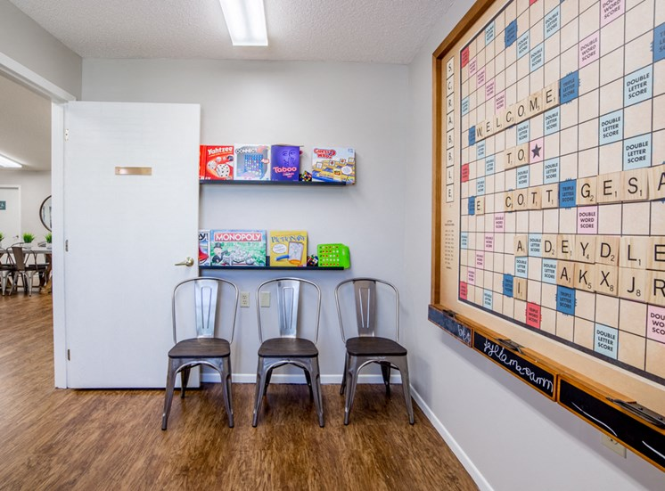 game room with life-size scrabble