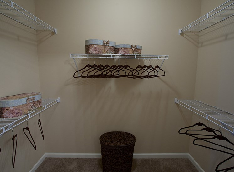 Walk in closets- Apartments at Grand Prairie, Peoria, Illinois, 5400 West Sienna Lane Peoria, IL, Spacious Walk-in closet, large closet