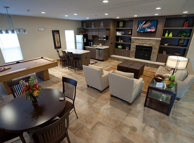 Home for rent with walk in closet-Apartments at Grand Prairie, Peoria, Illinois, 5400 West Sienna Lane Peoria, IL, Clubhouse, Kitchen, Pool table, game room, lounge, recreation room
