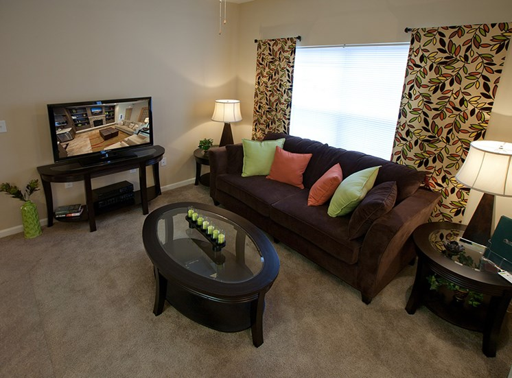 Two Bedroom Apartments- Apartments at Grand Prairie, Peoria, Illinois, 5400 West Sienna Lane Peoria, IL, Living Room, 2 tone walls