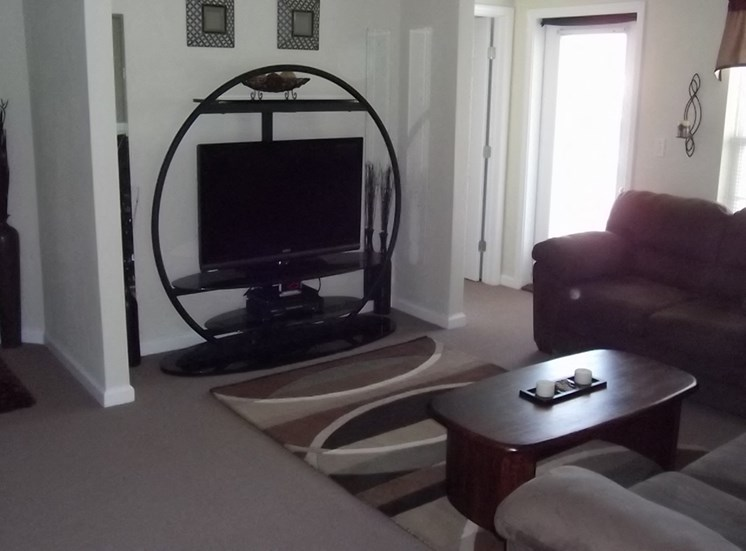 living room with couchs and TV in apartment