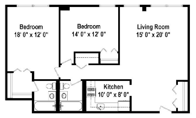 2 Bedrooms Floor Plan B1