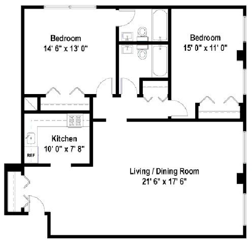 2 Bedrooms Floor Plan B2