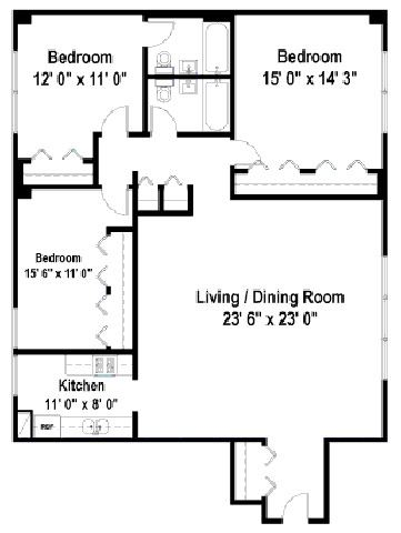 3 Bedrooms Floor Plan C1