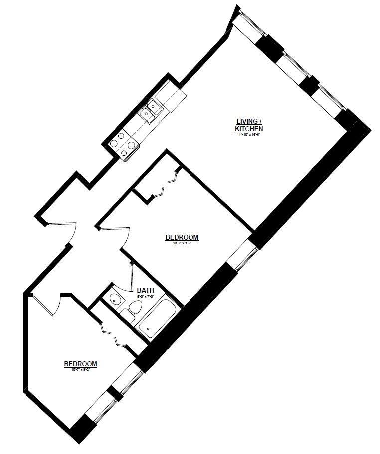 Argyle - One Bedroom M Floor Plan