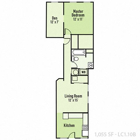 Lockerbie - One Bedroom B FloorPlan at Mass Ave Living By Buckingham, Indianapolis, Indiana