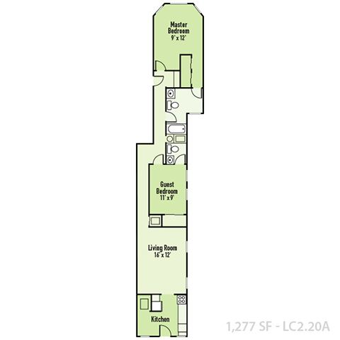Lockerbie - Two Bedroom A FloorPlan at Mass Ave Living By Buckingham, Indianapolis, 46204
