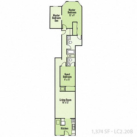 Lockerbie - Two Bedroom B FloorPlan at Mass Ave Living By Buckingham, Indianapolis, IN