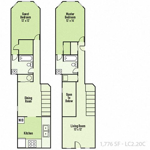 Lockerbie - Two Bedroom C FloorPlan at Mass Ave Living By Buckingham, Indiana, 46204