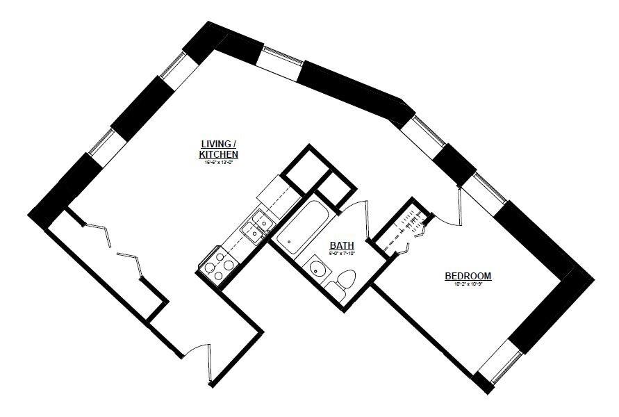 Argyle - One Bedroom B Floor Plan