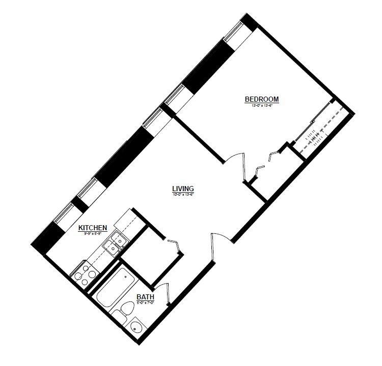 Argyle - One Bedroom K Floor Plan