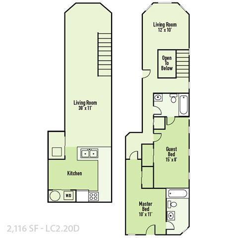 Lockerbie - Two Bedroom D FloorPlan at Mass Ave Living By Buckingham, Indiana