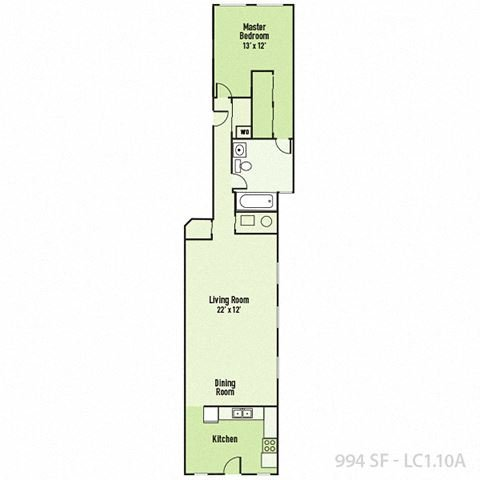 Lockerbie - One Bedroom A FloorPlan at Mass Ave Living By Buckingham, Indianapolis