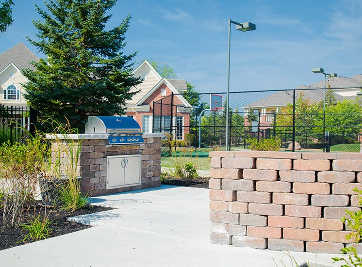 Outdoor Gathering Space with BBQ Grills at The Village on Spring Mill, Carmel