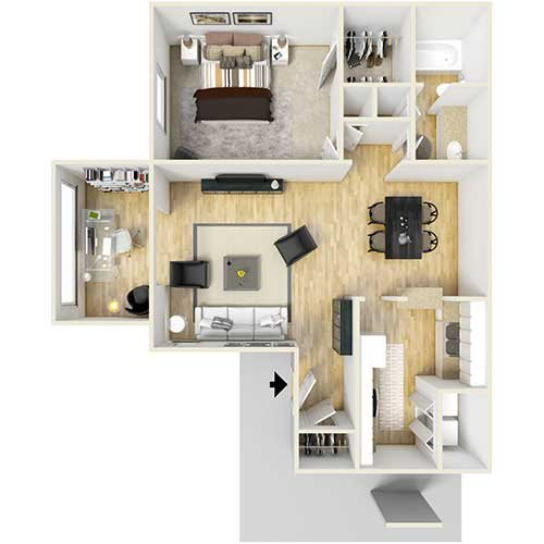 A2 - One Bed Garden Floor Plan 2