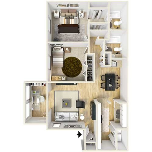 B1 - Two Bed Garden Floor Plan 3