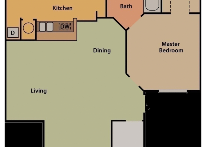 ONE BEDROOM ONE BATH Floor Plan 1