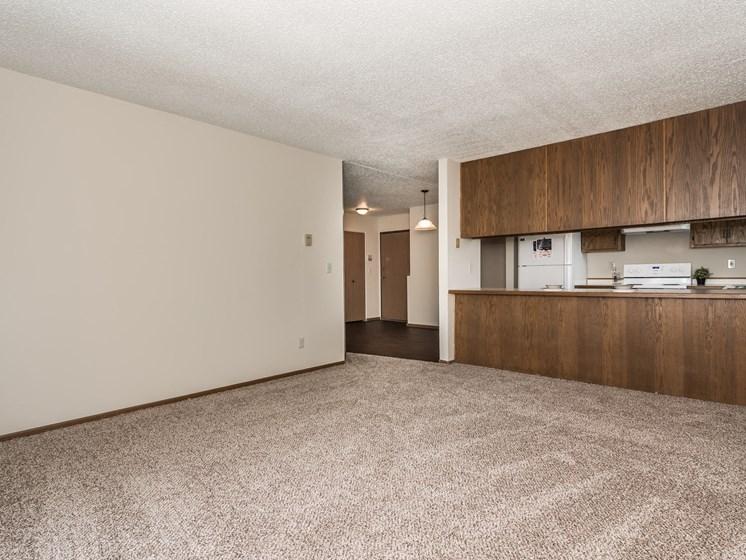 Harrison Apartments | 2 Bedroom (Corner) | Living Room & Kitchen