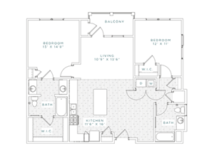 B2A Floor Plan at Capital Crest at Godley Station Apartment, Georgia