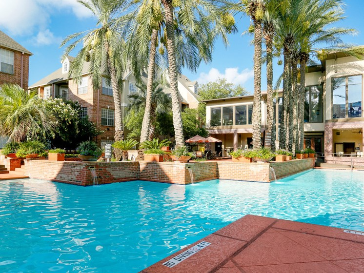 Resort-Style Pool Lounge at The Village at Bellaire in Houston, Texas