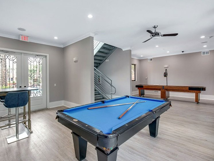 Clubhouse With Pool Table at The Village at Bellaire Apartments in Houston, Texas