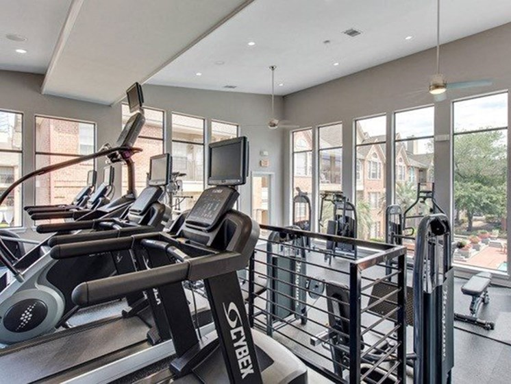 Fully-Equipped Fitness Center at The Village at Bellaire Apartments in Houston, Texas