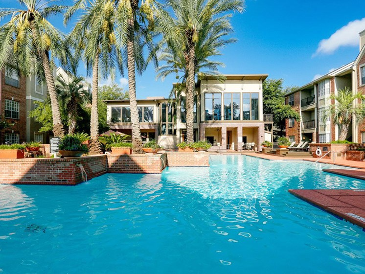 Large Pool With Palm Trees at The Village at Bellaire Apartments in Houston, Texas