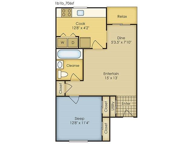 1 Bedroom Garden Style Floor Plan 1