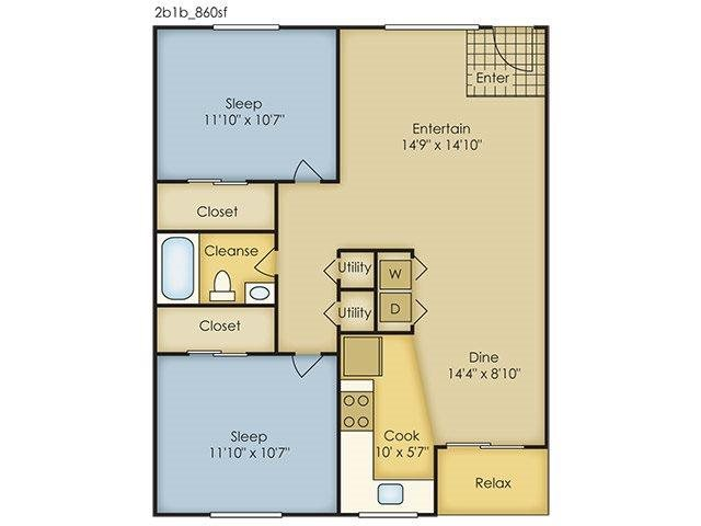 2 Bedroom Garden Style Floor Plan 2