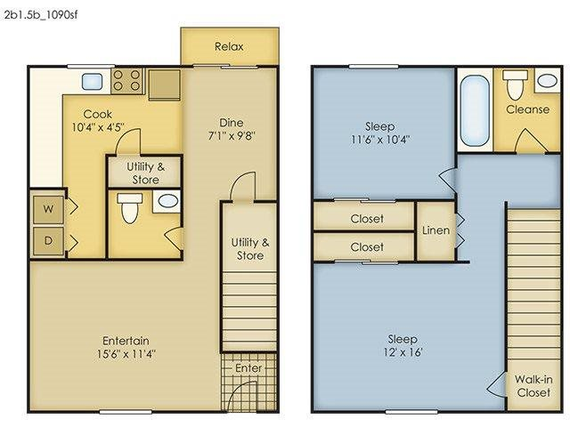 2 Bedroom Townhome Floor Plan 3