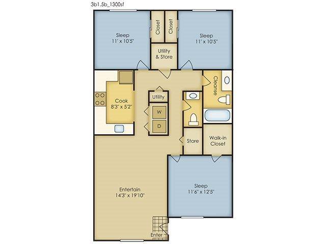 3 Bedroom Garden Style Floor Plan 4