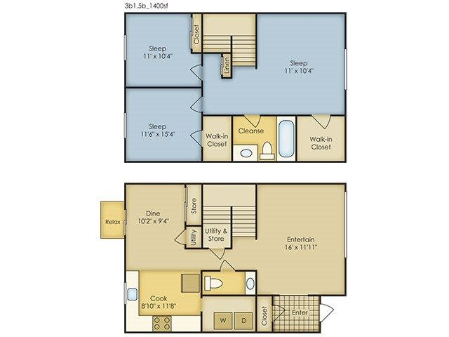3 Bedroom Townhome Floor Plan 5